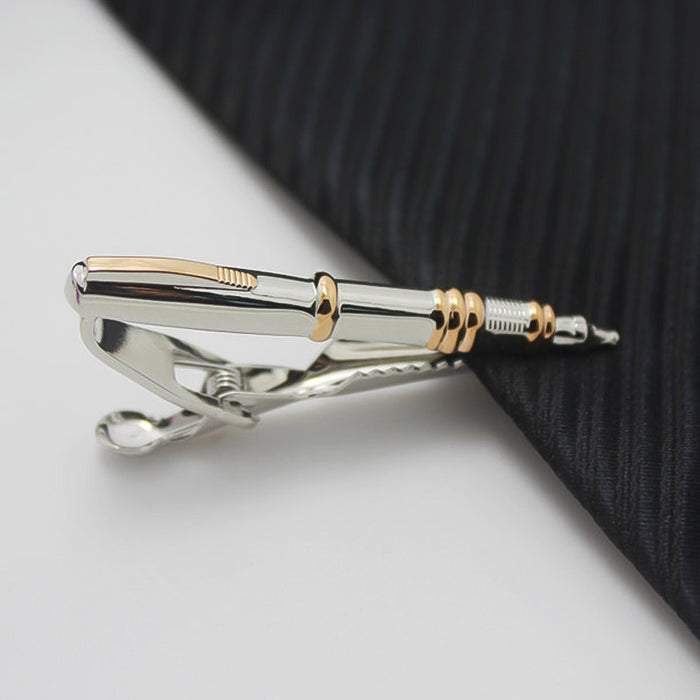 Ballpoint Pen Tie Clip Silver Gold Image On Tie
