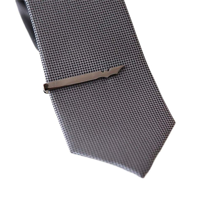 Batman Tie Clip Wing Gunmetal Black On tie