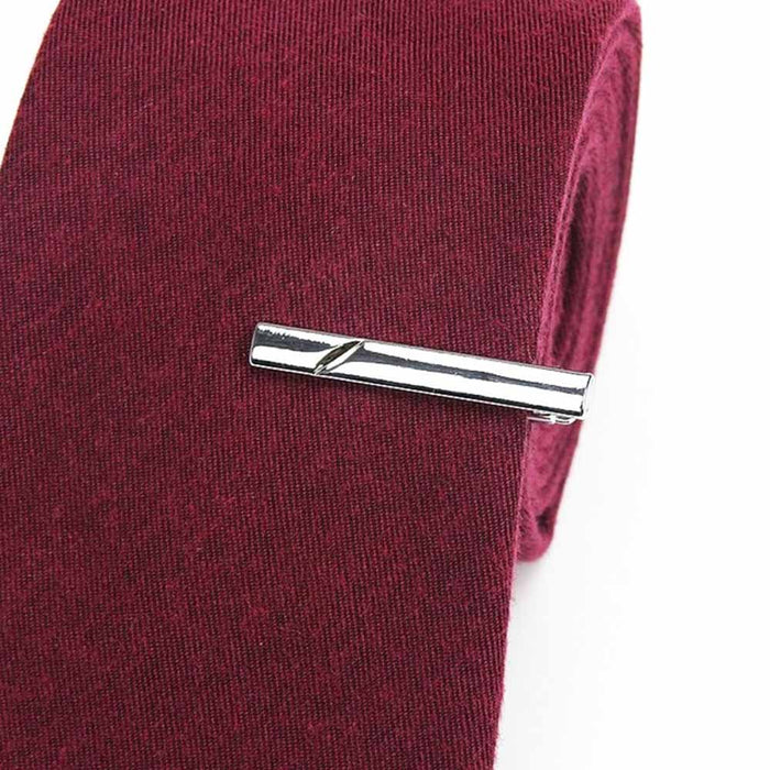 Short Tie Clip Silver Engraved Angled Line On Tie