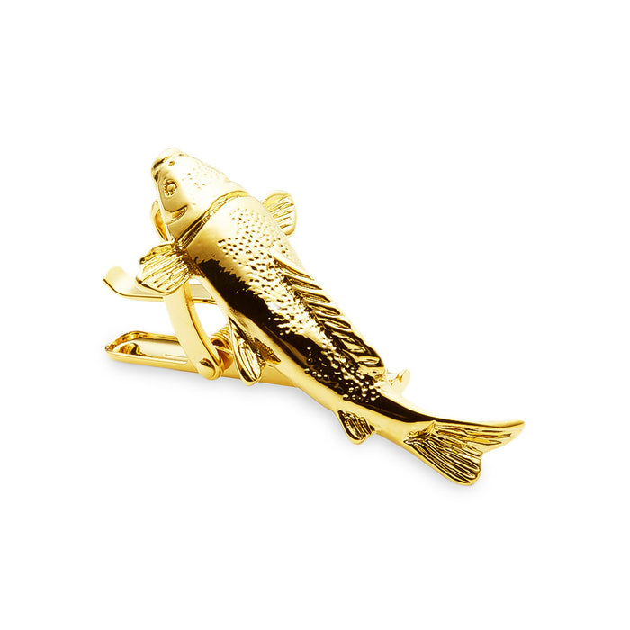 Fishing Tie Clip Fish Fisherman Gold Front