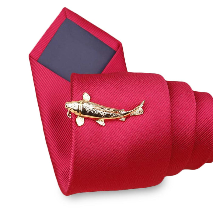 Tie Clip Fishing Fish Fisherman Gold On Tie
