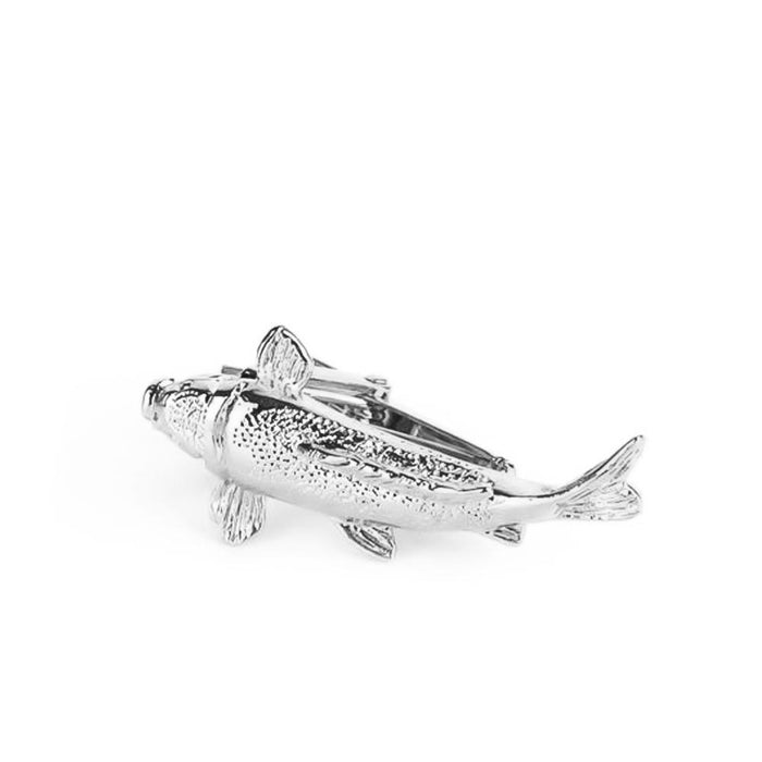 Fishing Tie Clip Fish Fisherman Silver Top