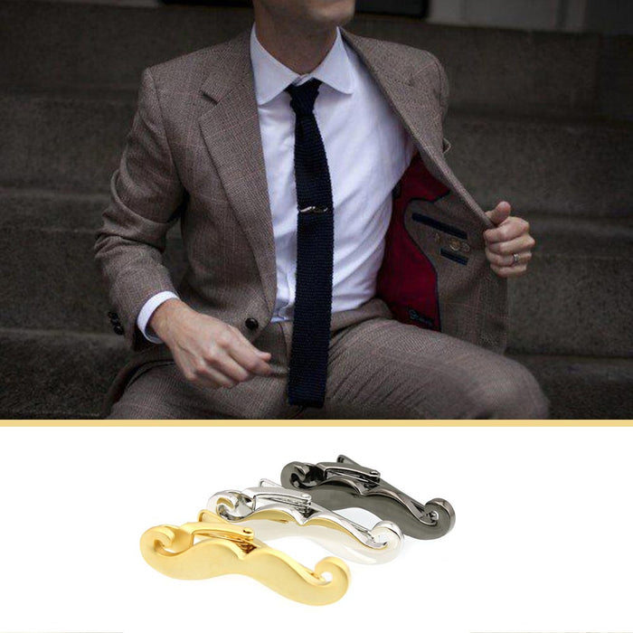 Curled Moustache Tie Clip Image Display