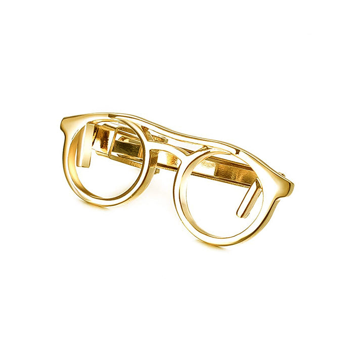 Reading Glasses Tie Clip Gold Angle Image