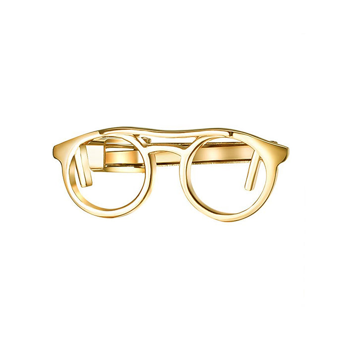 Reading Glasses Tie Clip Gold Front Image