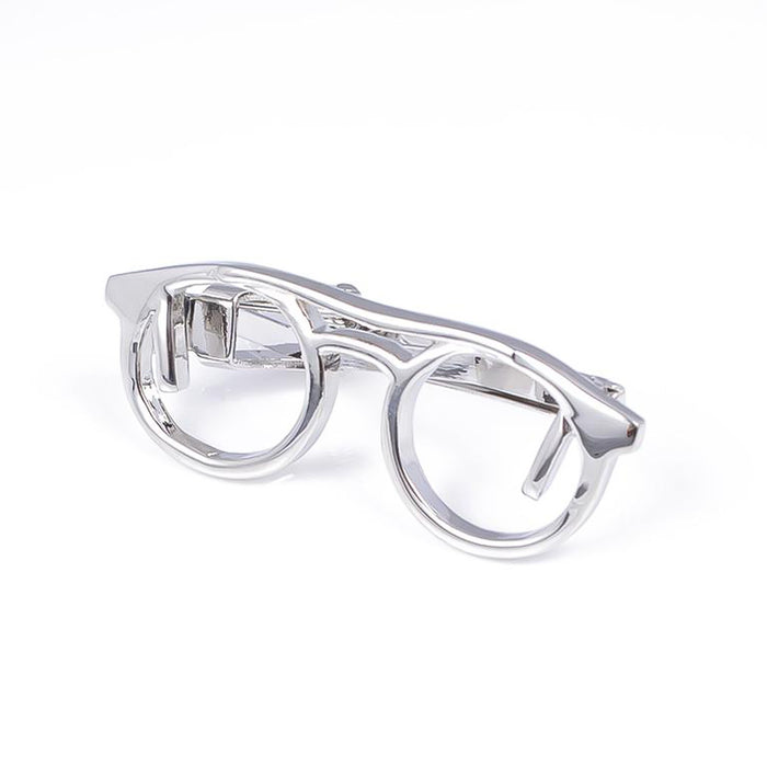 Reading Glasses Tie Clip Silver Angle Image