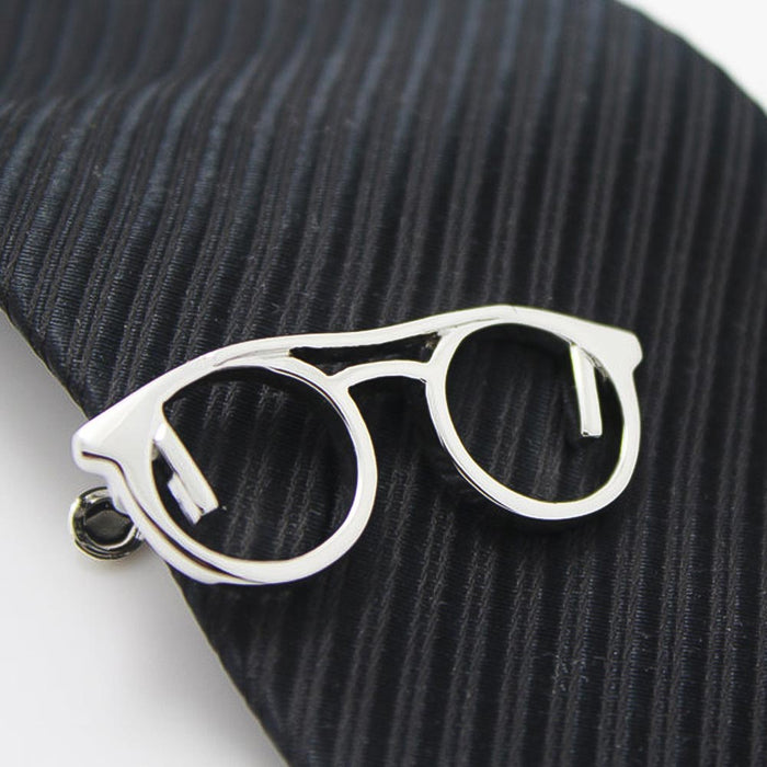 Reading Glasses Tie Clip Silver On Tie Image