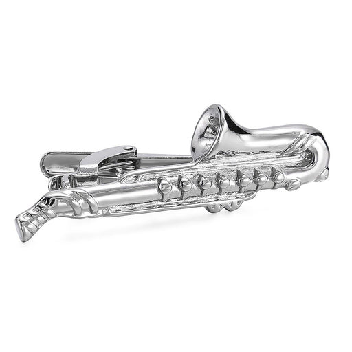 Saxophone Tie Clip Silver Image Front