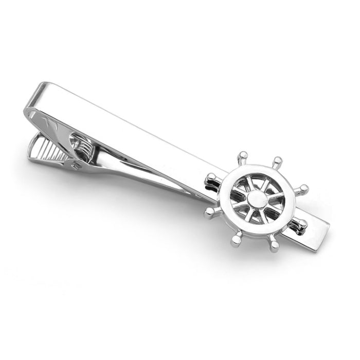 Ship Steering Wheel Tie Clip Silver Top View