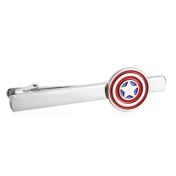 Captain America Tie Clip Silver Red Blue Front View