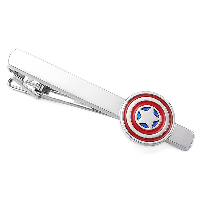Captain America Tie Clip Silver Red Blue Top View
