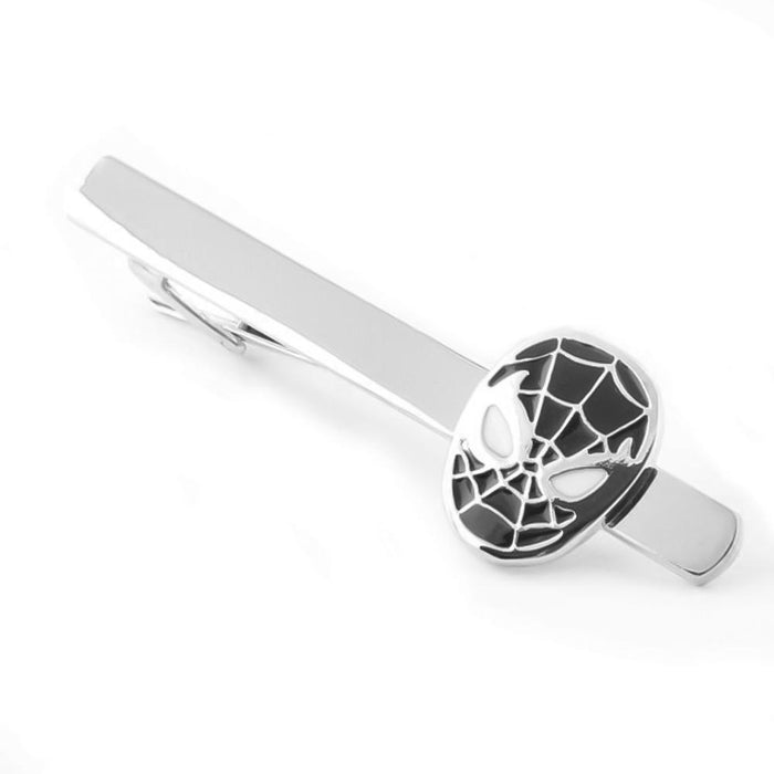 Spider-Man Tie Clip Silver Black Long Superhero Image Top