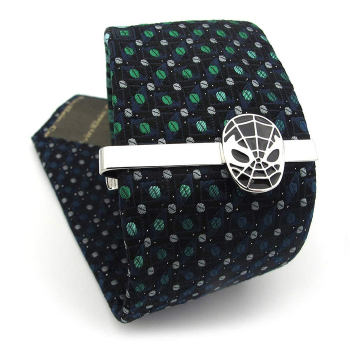 Spider-Man Tie Clip Silver Black Superhero Image On Tie