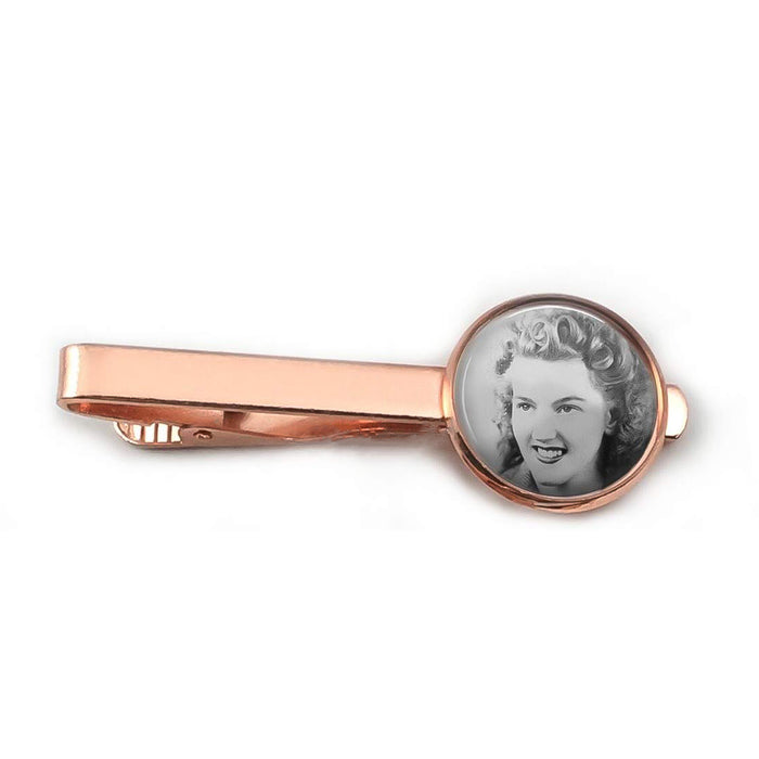 Tie Clip - Personalised With Dome Glass Setting (Red Copper)
