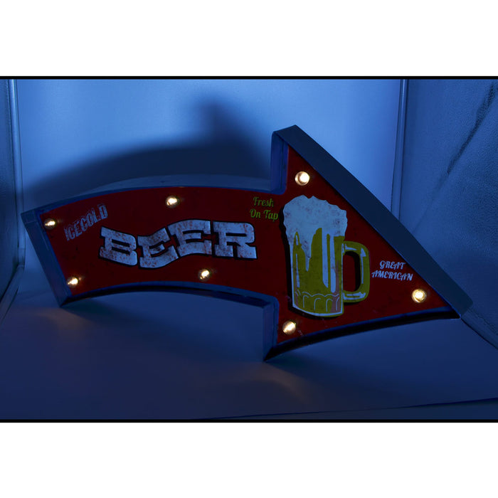 Decor Beer Sign With LED Lights Red Yellow Front Lights On