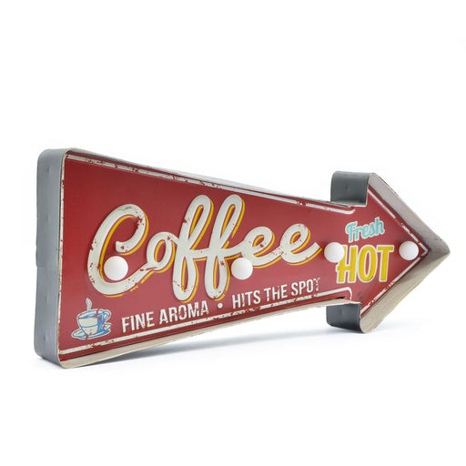 Decor Coffee Sign With LED Lights Red White Front