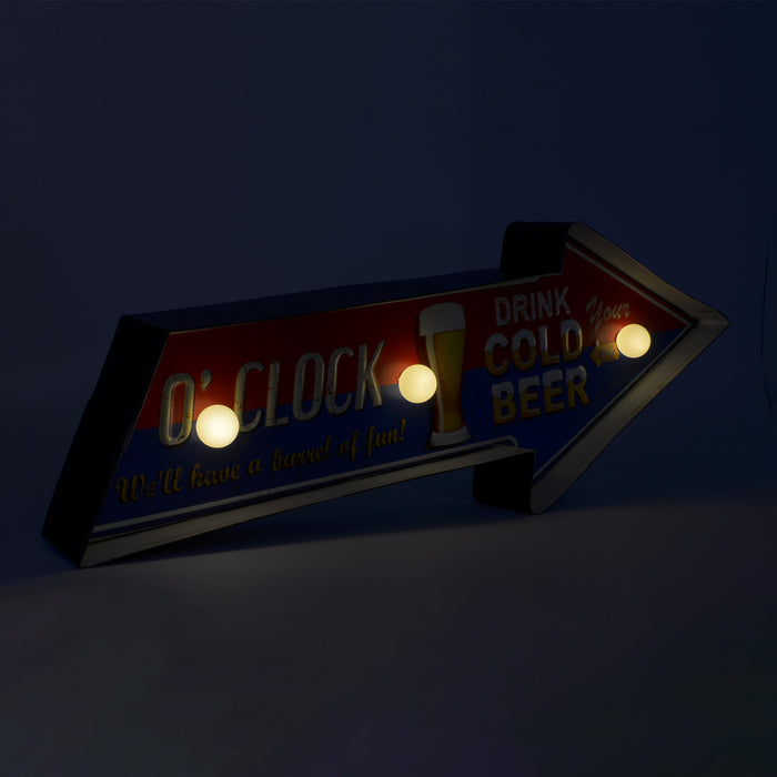 Retro LED Light Beer O'clock Sign Red Blue Image Side Display
