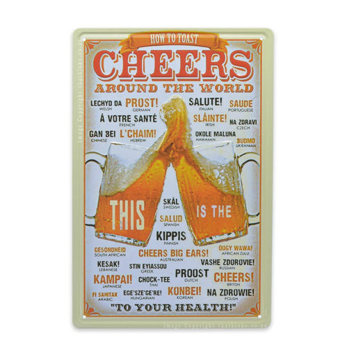 How To Cheers Around The World Beer Metal Sign For Bar or Man Cave