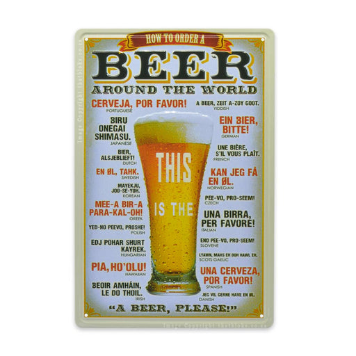 How To Order A Beer Around The World Metal Sign For Bar or Man Cave