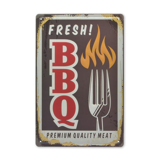 Braai BBQ Metal Sign Tin Fresh Premium Quality Meat Image Front