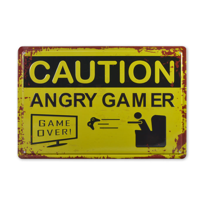 Medium Tin Sheet Graphic Print - Caution Angry Gamer | That Bloke