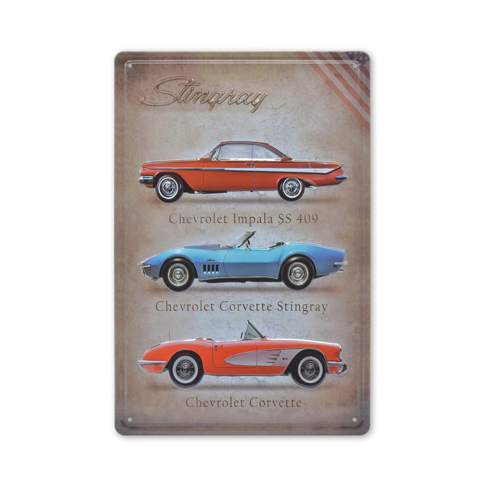 Chevrolet Metal Sign Corvette Stingray Tin Print Medium