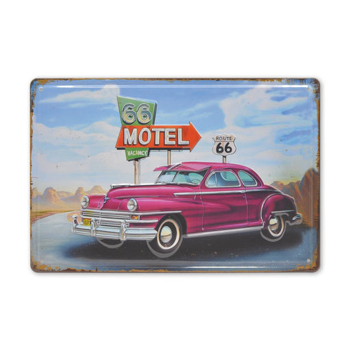 Route 66 Motel Classic Car Metal Sign Medium