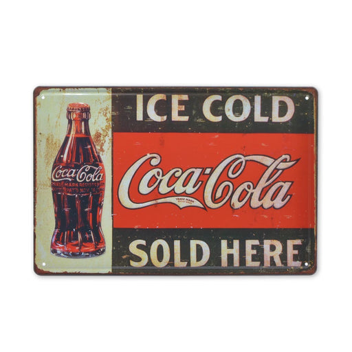 Ice Cold Coca-Cola Sold Here Metal Sign Image Front Medium