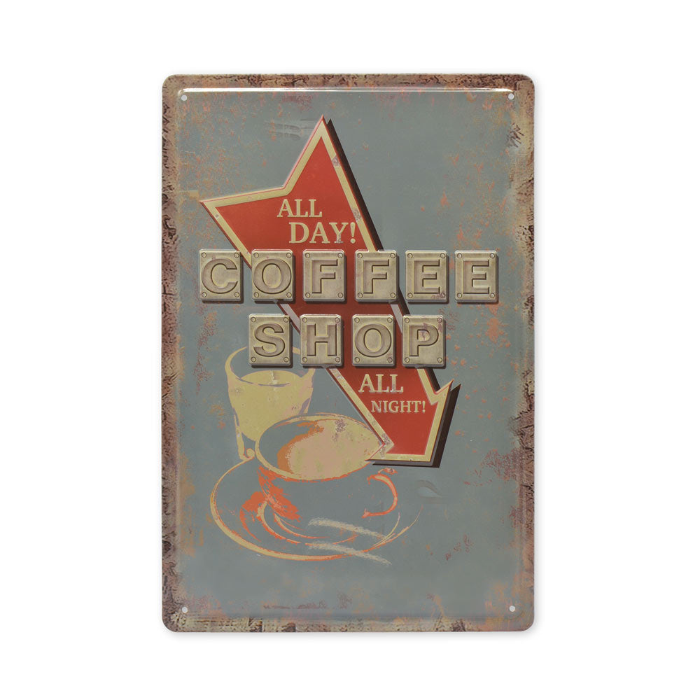 Medium Tin Sheet Graphic Print - Coffee Shop Retro