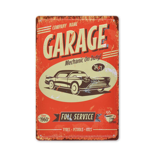Car Service Garage Mechanic On Duty Metal Sign Tin Medium