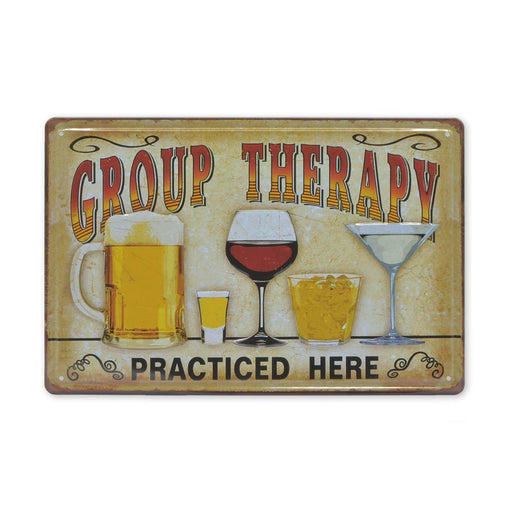 Medium Tin Sheet Graphic Print - Group Therapy Practiced Here