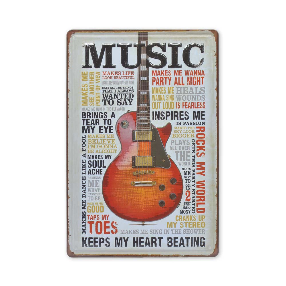 Medium Tin Sheet Graphic Print - Music Guitar Inspirational Words