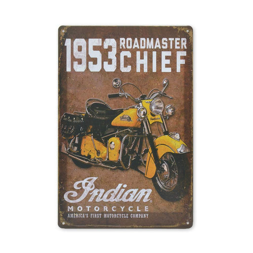 Medium Tin Sheet Graphic Print - Indian Motorcycles Roadmaster Chief 1953