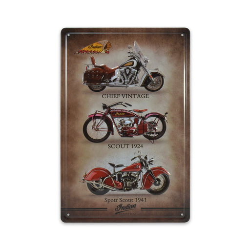 Indian Motorcycle Metal Sign Vintage Bikes Medium