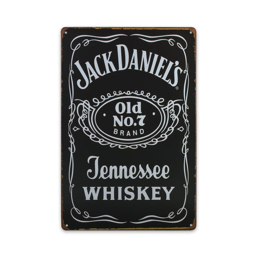 Jack Daniels Tennessee Whiskey Metal Sign Tin Print Black Medium