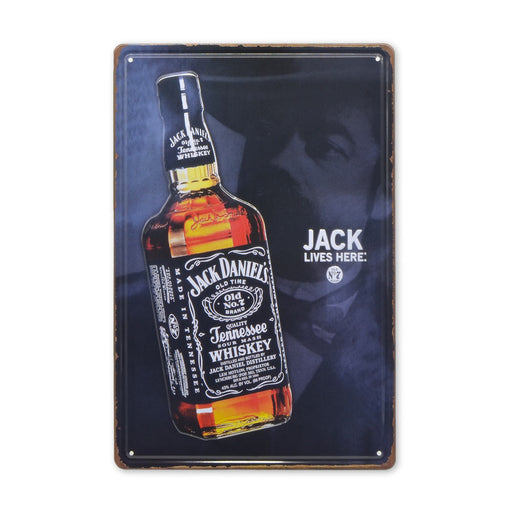 Jack Daniels Metal Sign Whiskey Jack Lives Here Tin Print Medium