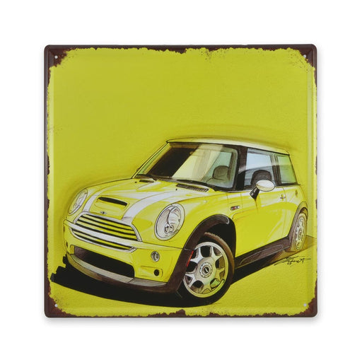 Mini Cooper metal sign Yellow Car tin print medium