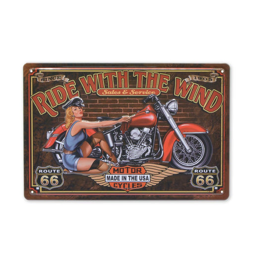 Motorcycle Girl Metal Sign Ride With The Wind Tin Print Image Front