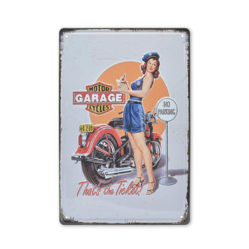 Medium Tin Sheet Graphic Print - Motorcycle Traffic Officer Girl