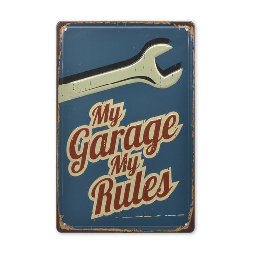 My Garage My Rules Metal Sign Car Spanner Tin Medium