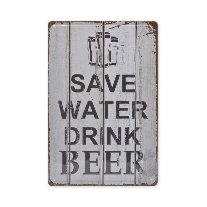 Medium Tin Sheet Graphic Print - Save Water Drink Beer