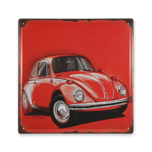 Volkswagen VW Beetle Metal Sign Red Medium