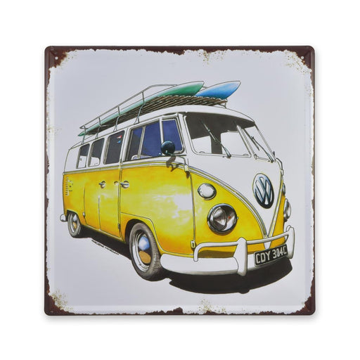 Volkswagen VW Kombi with Surfboards Metal Sign Yellow Medium