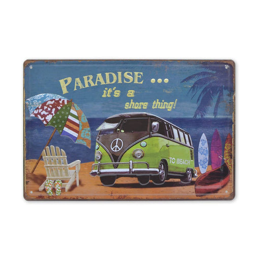 Volkswagen VW Kombi Metal Sign Paradise Theme Split Window Medium