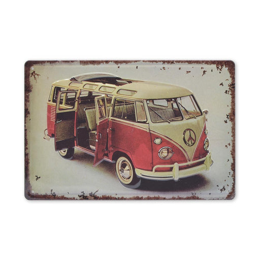 Volkswagen VW Kombi Metal Sign Split Window Red and White Medium