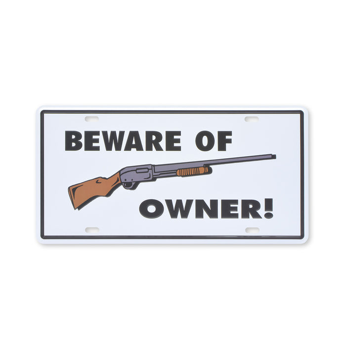 Small Tin Sheet Graphic Print - Beware Of Owner