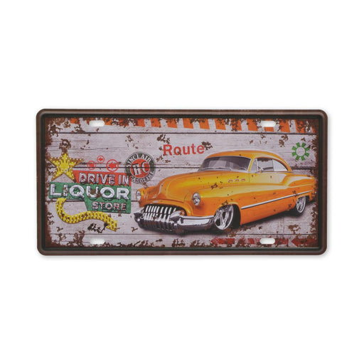 Classic Car Drive In Liquor Store Metal Sign Small Tin Print