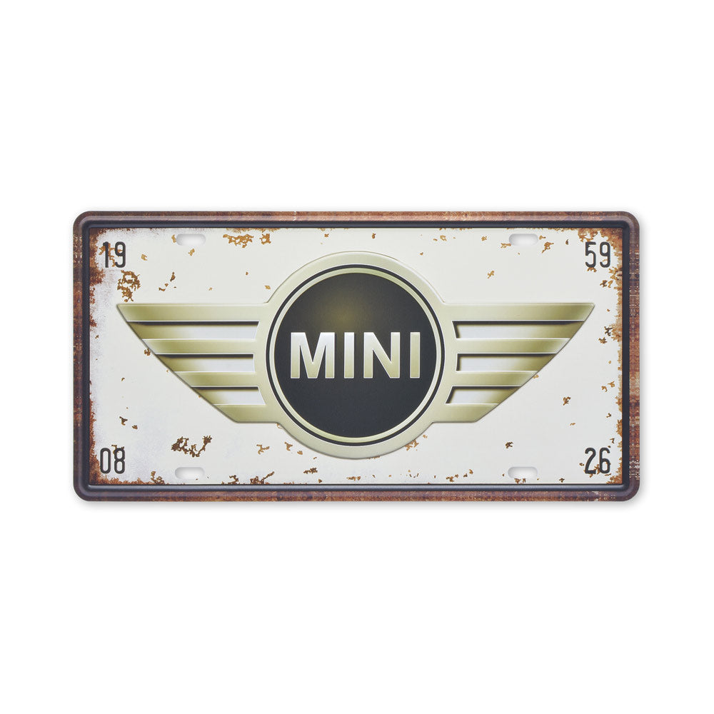 Small Tin Sheet Graphic Print - Mini Car Logo