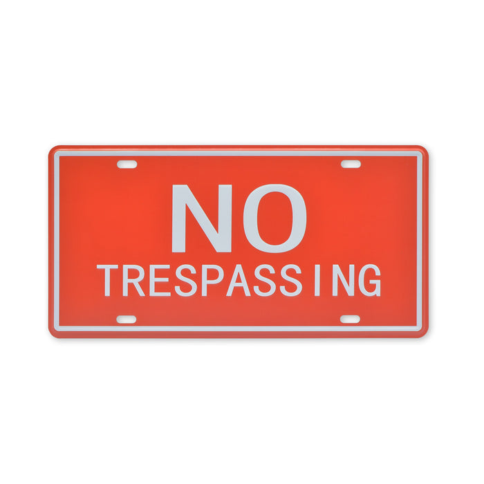 No Trespassing Metal Sign Red Small