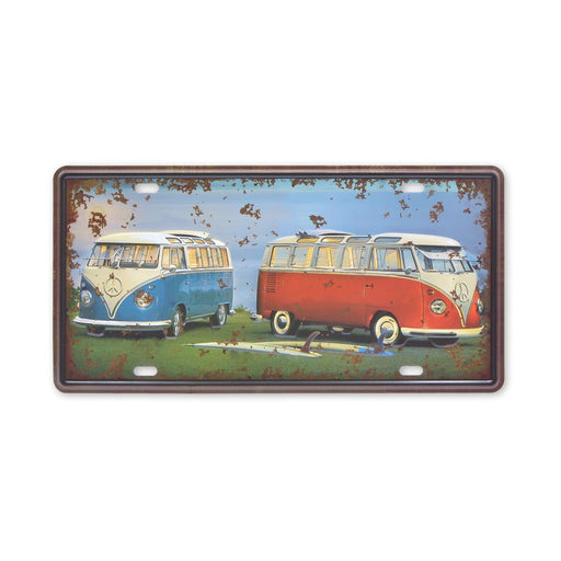 VW Volkswagen Kombi Bus With Surfboards Metal Sign Small